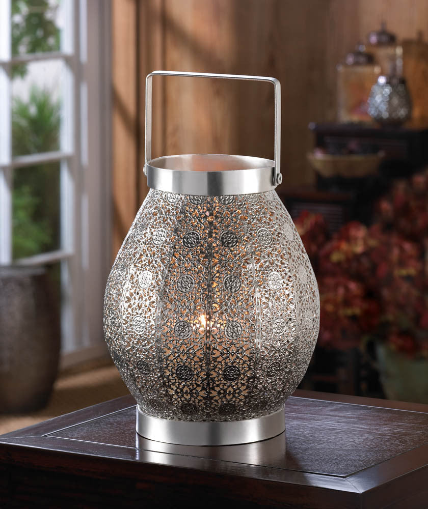 Silver Lace Candle Lantern