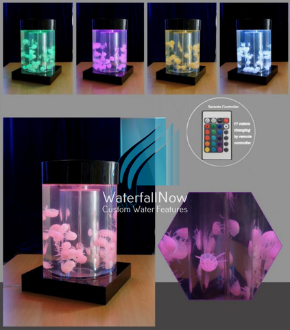 Tabletop Artificial Jellyfish Aquarium - Black Acrylic Cylinder - dja1100b
