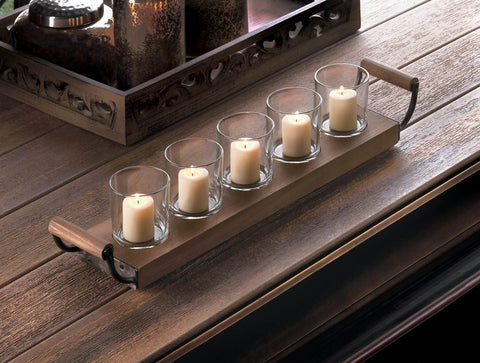 Wooden Tray Candle Holder