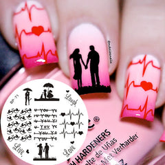 BORN PRETTY BP71 Love Theme Couple Heart Nail Art Stamping Template