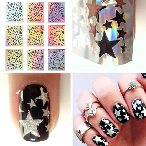 9 Tips/Sheet Laser Star Nail Vinyls Nail Stencils