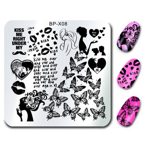 BORN PRETTY BP-X08 Kissing Design Nail Art Stamp Template