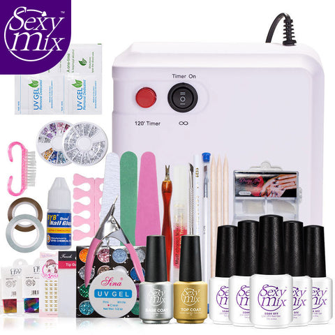 Sexy Mix High Quality 36W UV Nail Dryer Lamp with Full Set Acrylic Nail Kit