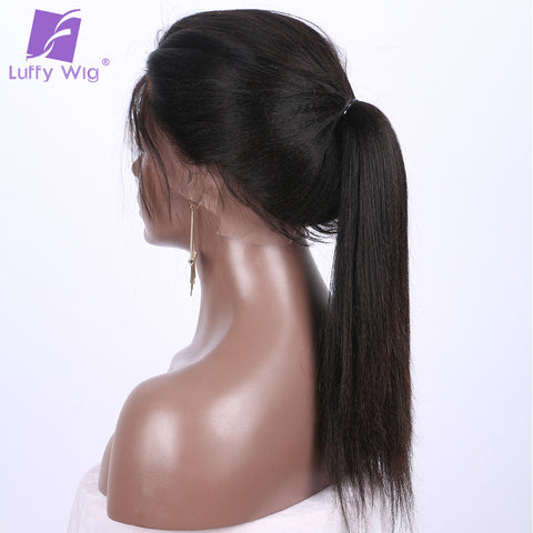 Light Yaki Straight Non Remy Brazilian Full Lace Human Hair Wigs