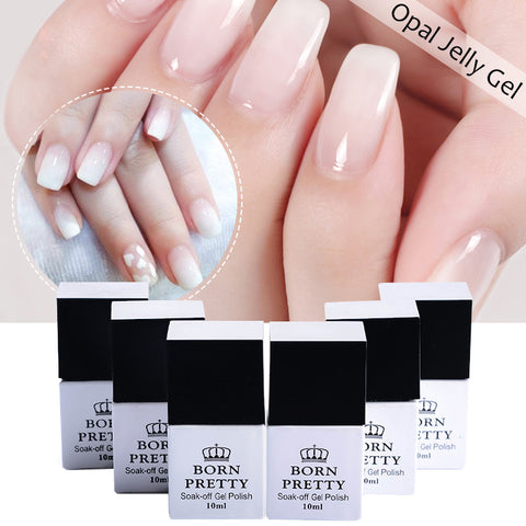 BORN PRETTY Opal Jelly Gel Polish 1 Bottle White Soak Of UV Gel Polish
