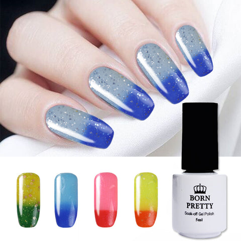 BORN PRETTY Shimmer Glitter Thermal Color Changing Soak Off UV Gel Polish