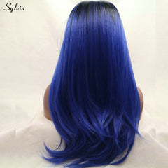 Black Root Ombre Dark Blue Long Silky Straight Hairstyle Synthetic Lace Front Wig