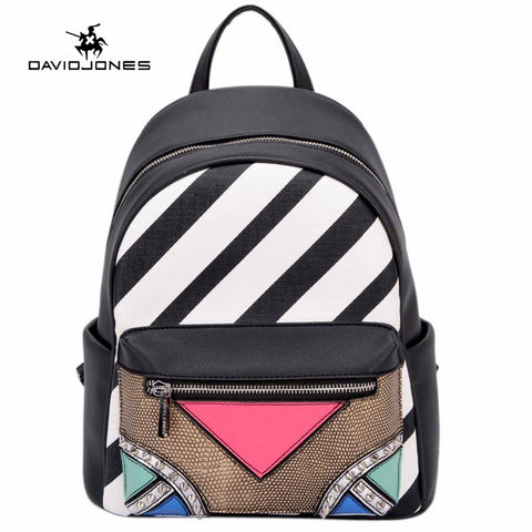 DAVIDJONES Synthetic Leather Patchwork Mini Backpack