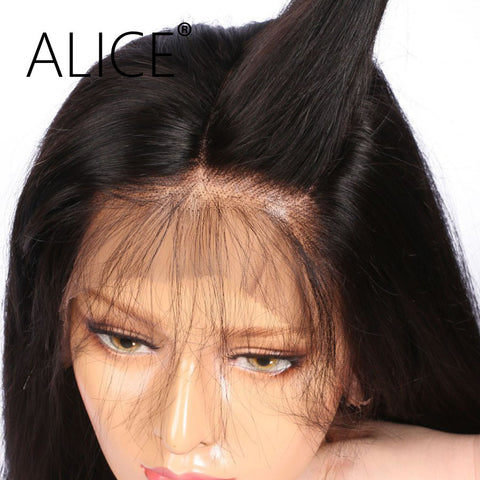 ALICE Silky Straight Brazilian Full Lace Human Hair Wigs With Baby Hair