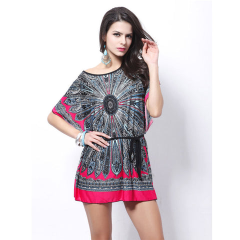 Loose Ethnic Print Skater Batwing sleeve tunics