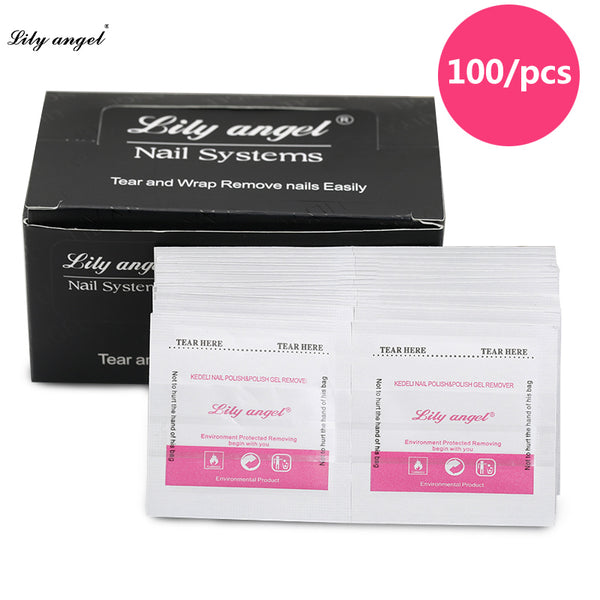 Lily Angel Nail Remover 100Pcs Easy Cleaner Gel Nail Wraps