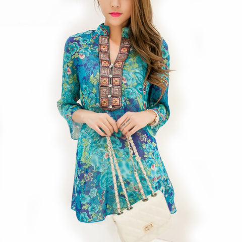 Floral Print Embroidery Chiffon Blouse
