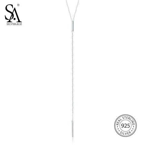 SA SILVERAGE Sterling Silver Long Chain Necklace