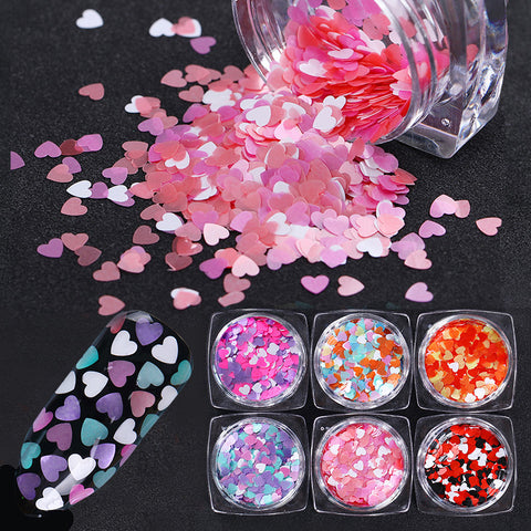 Mixed Color Heart Shape Nail Sequins