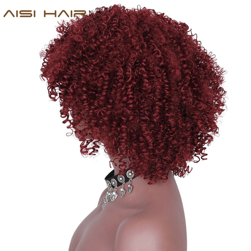 AISI HAIR Short Red Wine Afro Synthetic Wig