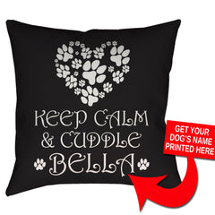"Custom Keep Calm & Cuddle [Dog's Name Here] Pillow - 18"" X 18"" - Zaprem"