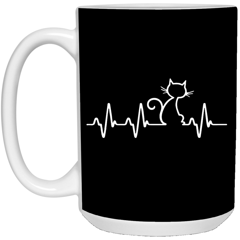 Cats Make My Heart Beat Mugs