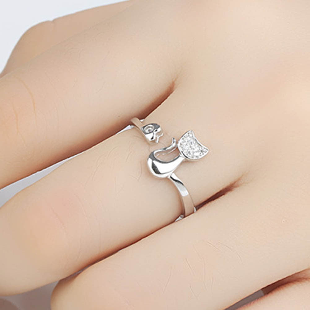 Rose Gold/ Silver Crystal Cat Heart Ring