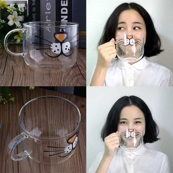Cute Transparent Cat Glass Mug 550ML - Zaprem