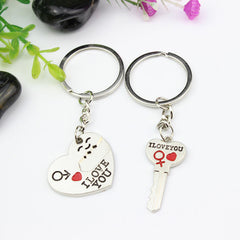 I Love You Silver Plated Heart Keychain