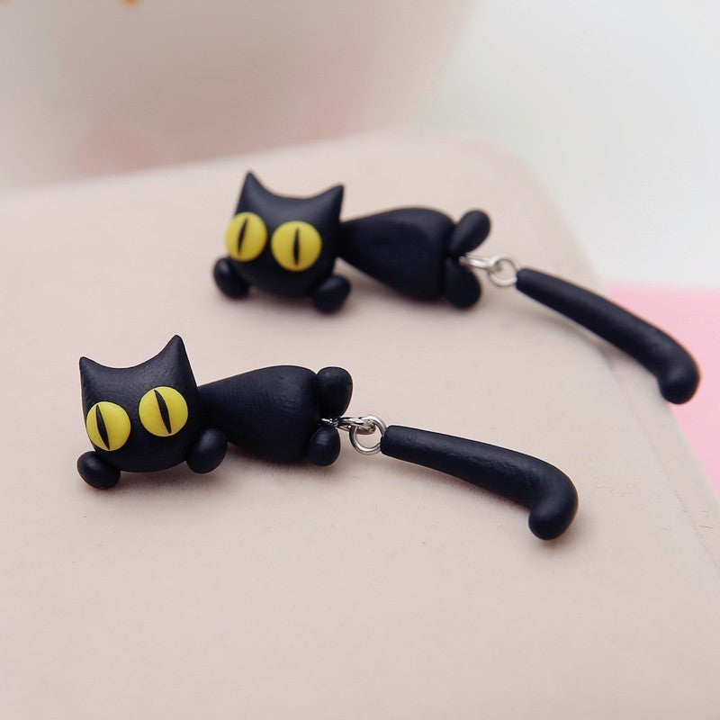 Cute Yellow Cat Eyes Earrings - Zaprem