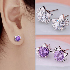 Cute Purple/ White Crystal Cat Stud Earrings