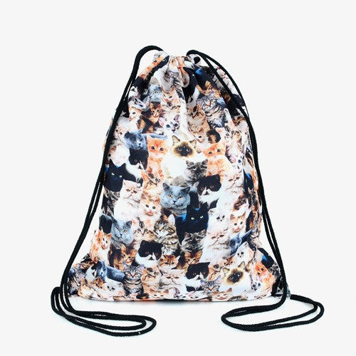3D Cat Backpack Drawstring Bag