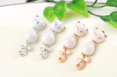 Cute Rose Gold/ Platinum Plated Cat Drop Earrings