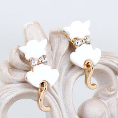 Cute Rhinestone Crystal Bow knot Cat Studs
