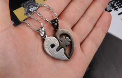 Silver/ Black Couple Joint Heart Necklaces