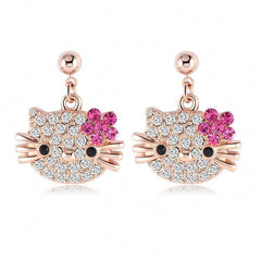 18K Rose gold plated Austrian full crystals cat flower stud earrings