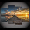 Image of Sunrise With Dock & Boat At Lake - 2