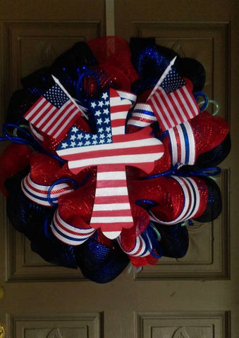 Patriotic Cross deco mesh wreath