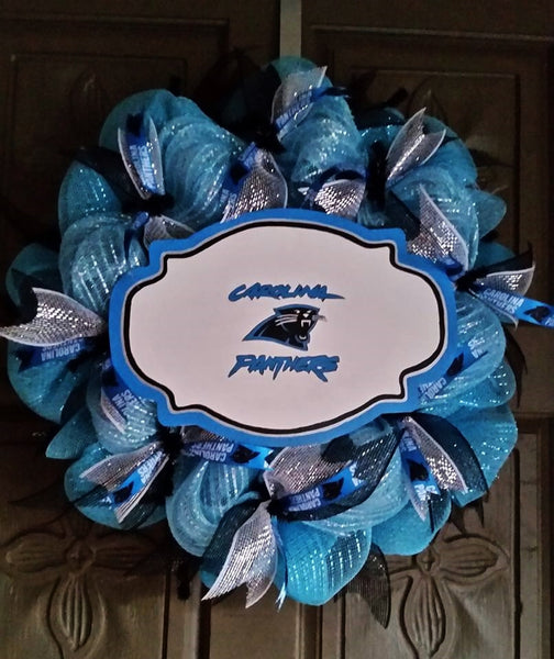 Carolina Panthers deco mesh wreath