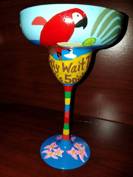 Hand Painted Tropical Margarita Glass
