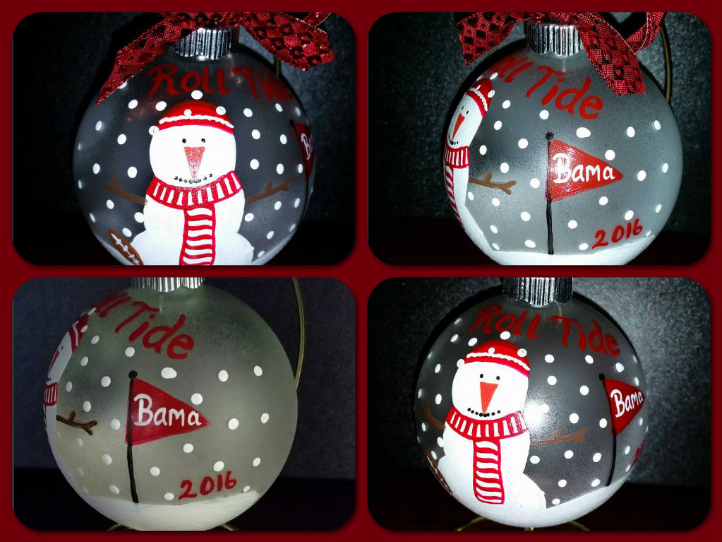 Alabama Crimson Tide hand painted Snowman ornament