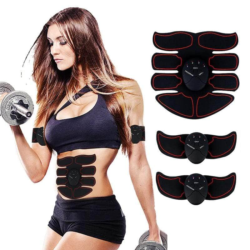 Abftit Ultimate Abs Muscle Simulator 6 Piece Set EMS Remote Control 8 Pack Abs Trainer Fitness Overstocktogo