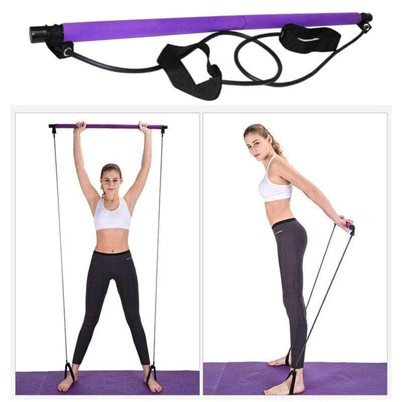 Portable Pilates Bar Kit Resistance Band Fitness Overstocktogo