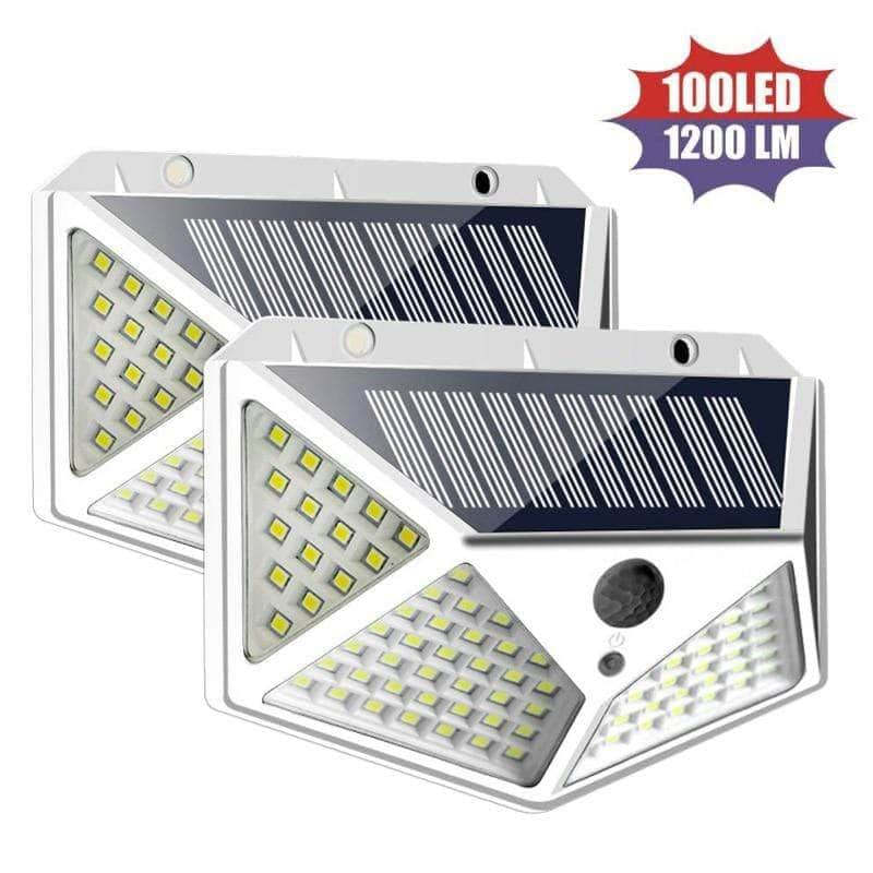 SOLITE™ High Power 100 LED Four Sided Solar Power Motion Sensor Wall Light Outdoor Waterproof Garden Security Lamp Gadget Overstocktogo 100LED white United States 2pcs