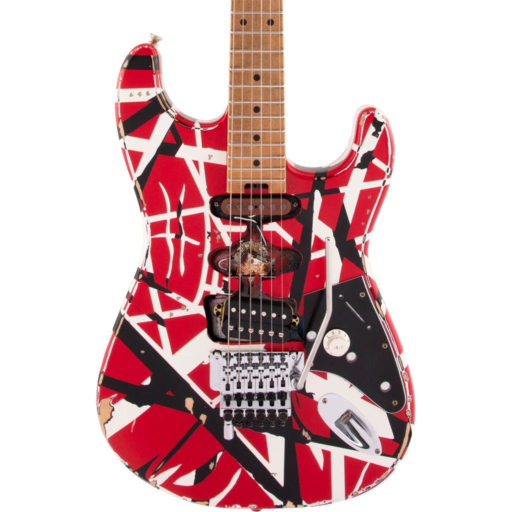 EVH - Striped Series Frankie - Maple Fingerboard - Red with Black Stripes Relic