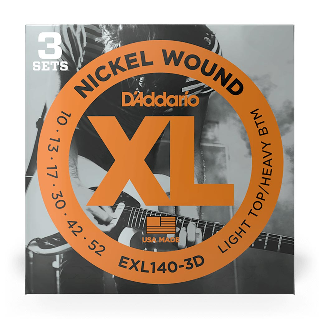 D'Addario - EXL140-3D - 3 Pack Nickel Wound Light Top Heavy Bottom 10-52 - Electric Guitar Strings