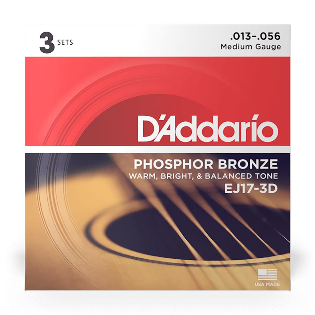 D'Addario - EJ17-3D - 3 Pack Phosphor Bronze Medium 13-56 - Acoustic Guitar Strings