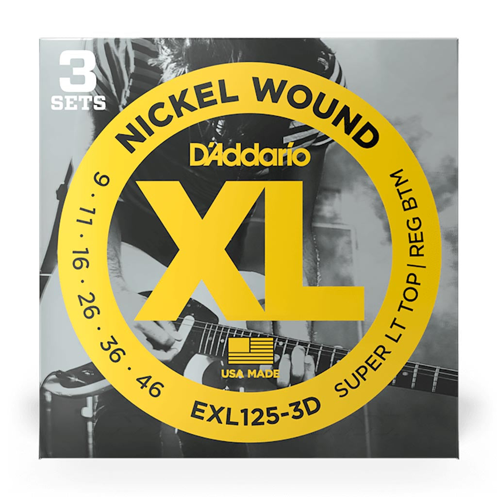 D'Addario - EXL125-3D - 3 Pack Nickel Wound Super Light Top Regular Bottom 9-46 - Electric Guitar Strings