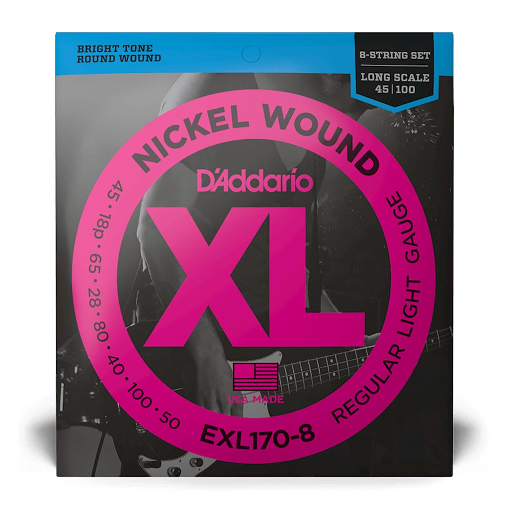 D'Addario - EXL170-8 - 45-100 Light 8-String / Long Scale Set - Bass Strings