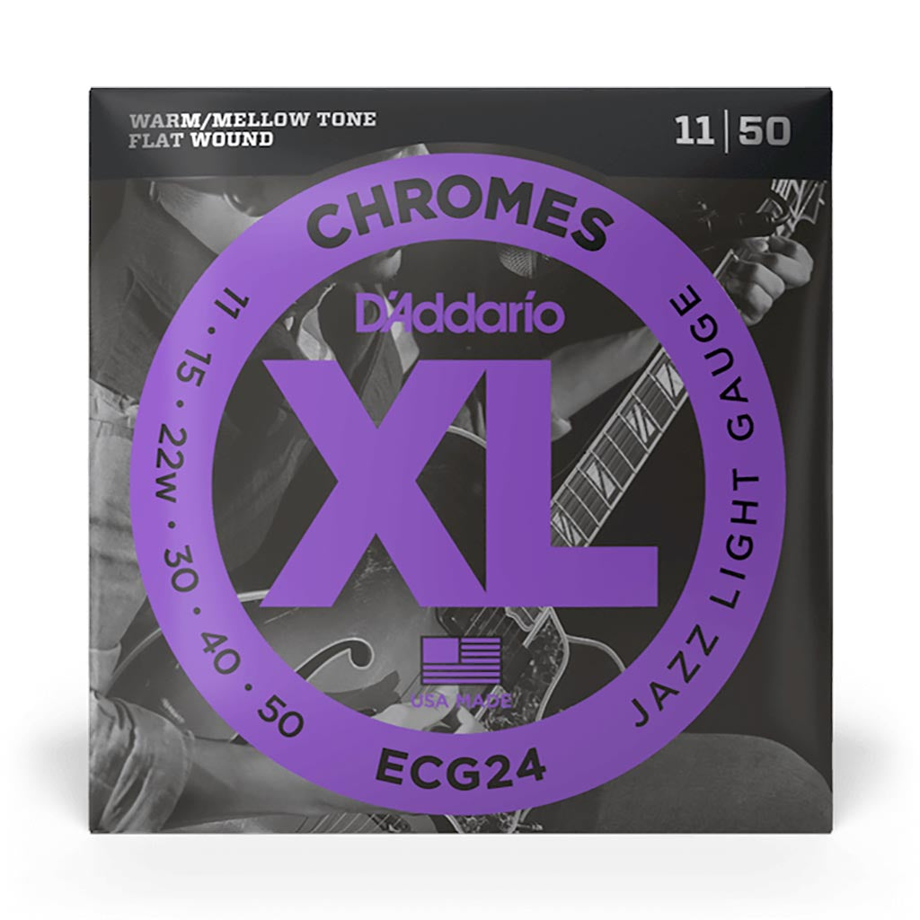 D'Addario - ECG24 - Chrome Jazz Light 11-50 Flat Wound - Electric Guitar Strings