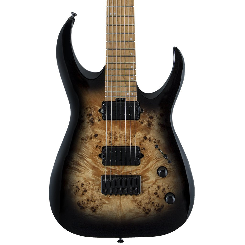 Jackson - Pro Series Signature Misha Mansoor Juggernaut HT7P - Black Burst Burl - Caramelised Maple Fingerboard