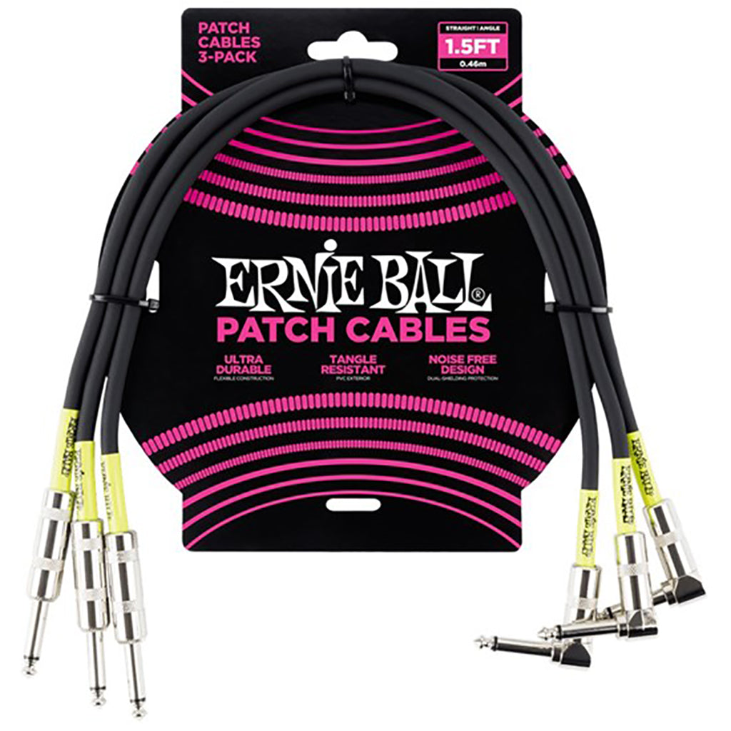 Ernie Ball E6076 - Patch Cable 3pk - Black Right Angle to Straight (1.5ft)