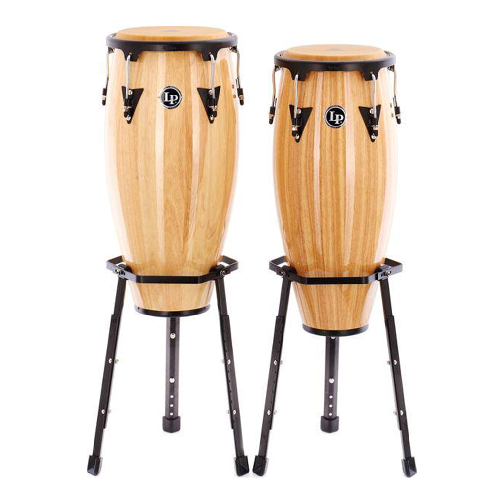 "LP - Aspire - 10"" & 11"" Natural Finish Wood Conga Set w/ 2 Basket Stands"