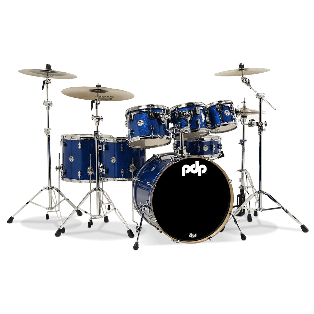 PDP - Concept Maple 7-Piece Drum Kit Pack - In Blue Sparkle w/Hardware, Meinl HCS Cymbals & Evans Heads