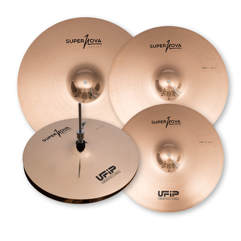 "UFIP - Supernova Series Cymbal Pack - 14"" Hi-Hat, 16"" Crash, 20"" Ride + 17"" Crash"